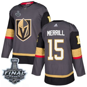 Adidas Jon Merrill Vegas Golden Knights Youth Authentic Gray Home 2018 Stanley Cup Final Patch Jersey - Gold