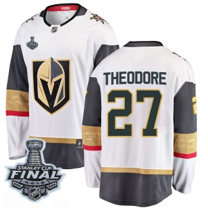 Fanatics Branded Shea Theodore Vegas Golden Knights Youth Breakaway White Away 2018 Stanley Cup Final Patch Jersey - Gold