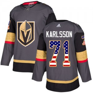 Adidas William Karlsson Vegas Golden Knights Men's Authentic Gray USA Flag Fashion Jersey - Gold