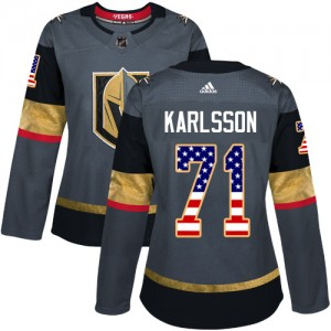 Adidas William Karlsson Vegas Golden Knights Women's Authentic Gray USA Flag Fashion Jersey - Gold