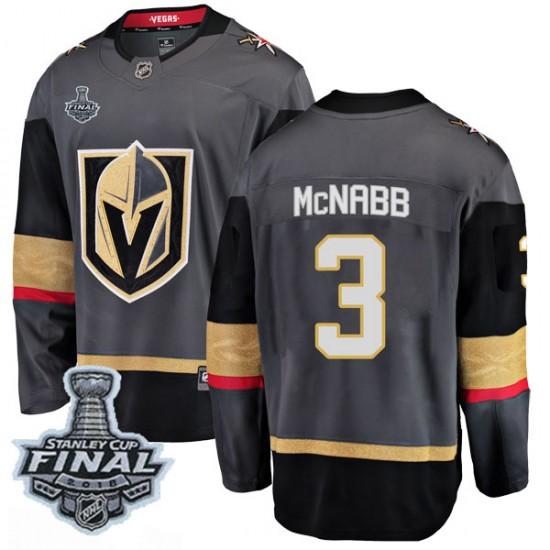 Fanatics Branded Brayden McNabb Vegas Golden Knights Men's Breakaway Black Home 2018 Stanley Cup Final Patch Jersey - Gold