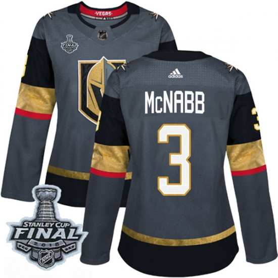 Adidas Brayden McNabb Vegas Golden Knights Women's Authentic Gray Home 2018 Stanley Cup Final Patch Jersey - Gold