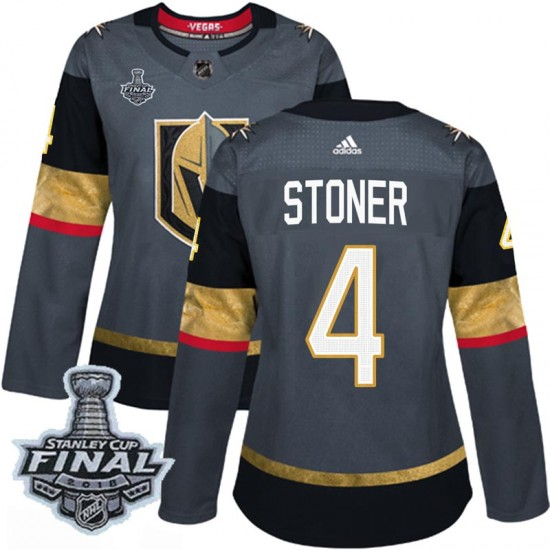 1ee4be0e6 Adidas Clayton Stoner Vegas Golden Knights Women s Authentic Gray Home 2018  Stanley Cup Final Patch Jersey - Gold