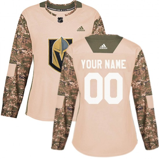 Adidas Custom Vegas Golden Knights Women's Authentic Camo Veterans Day Practice Jersey - Gold