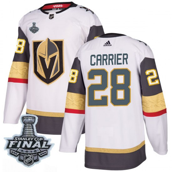 Adidas William Carrier Vegas Golden Knights Men's Authentic White Away 2018 Stanley Cup Final Patch Jersey - Gold