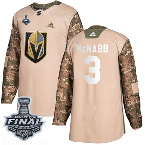 Adidas Brayden McNabb Vegas Golden Knights Youth Authentic Camo Veterans Day Practice 2018 Stanley Cup Final Patch Jersey - Gold
