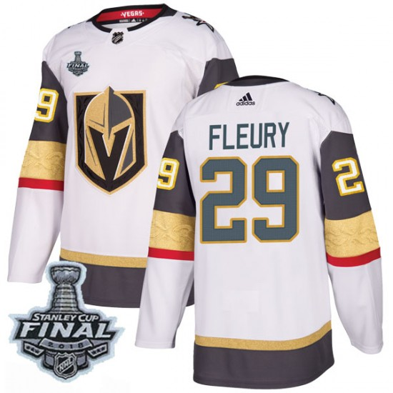 Adidas Marc-Andre Fleury Vegas Golden Knights Youth Authentic White Away  2018 Stanley Cup Final Patch Jersey ... fb023eeca