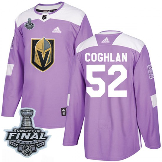 Adidas Dylan Coghlan Vegas Golden Knights Men s Authentic Fights Cancer  Practice 2018 Stanley Cup Final Patch Jersey ... 1b37f7d85