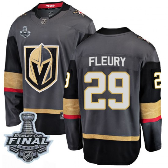 official photos 22b10 37a10 Fanatics Branded Marc-Andre Fleury Vegas Golden Knights Youth Breakaway  Black Home 2018 Stanley Cup Final Patch Jersey - Gold