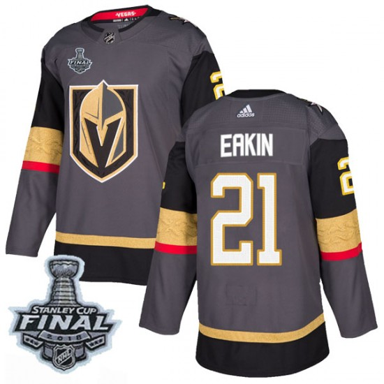 d389aaf7c Adidas Cody Eakin Vegas Golden Knights Youth Authentic Gray Home 2018  Stanley Cup Final Patch Jersey - Gold