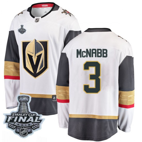 Fanatics Branded Brayden McNabb Vegas Golden Knights Youth Breakaway White Away 2018 Stanley Cup Final Patch Jersey - Gold