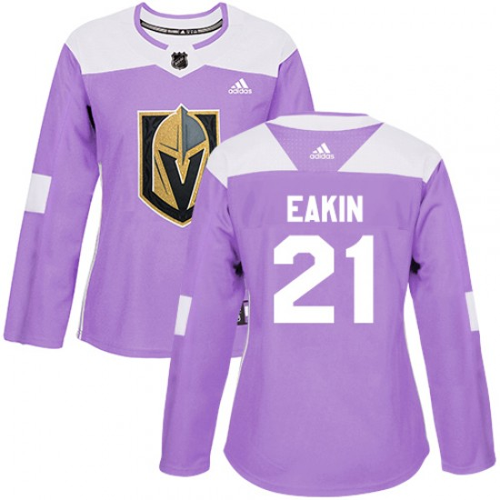 84939ff39 Adidas Cody Eakin Vegas Golden Knights Women s Authentic Fights Cancer  Practice Jersey - Purple